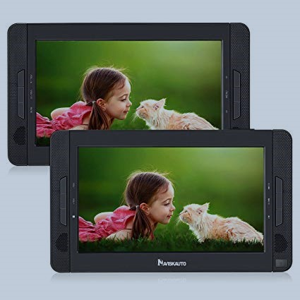 10.1 Dual Portable DVD Players for Car Can Play Different Movies