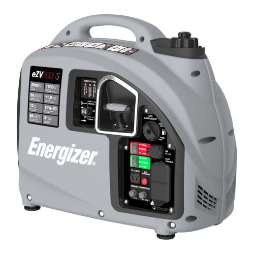 Energizer eZV2000P 2000W Gas powering portable inverter Generator considering than Parallel Capability, Grey Black
