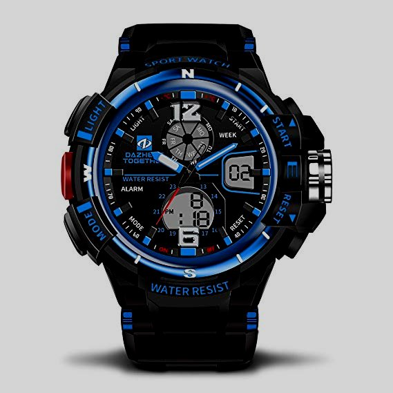 Fanmis Mens Military Multifunction Digital LED Watch with Electronic Waterproof Alarm Quartz Sports Watch Blue.