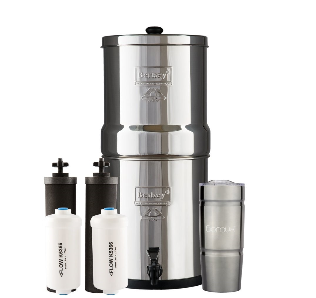 Travel Berkey best water filter 1.5 Gallon System Bundle: 2 Black BB9 Filters, 2 PF2 Fluoride Filters