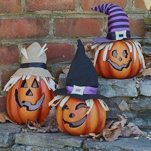 Prextex Set of 3 Happy Jacko Lantern Halloween Light Decoration
