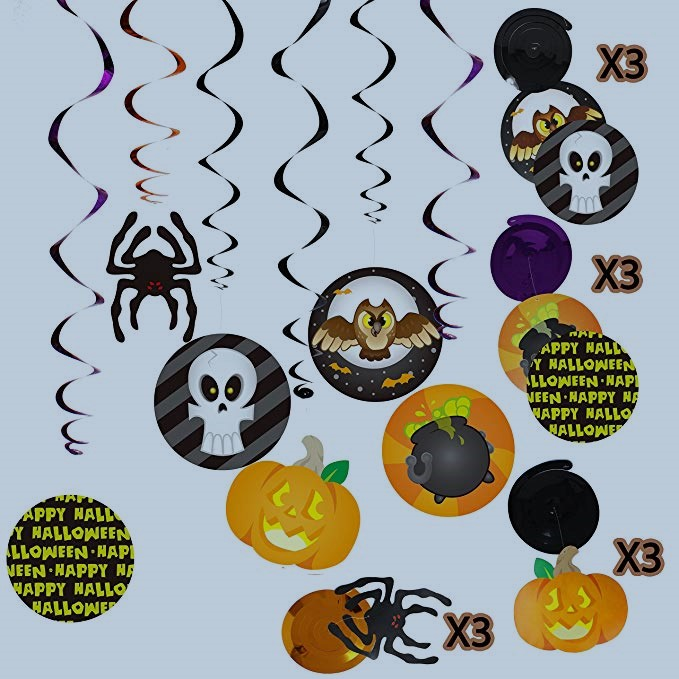 Spooktacular Creations, Halloween Party Swirl Ceiling Hanging with Wall Decoration